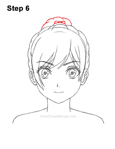 How to Draw Manga Girl Woman Ponytail Hair Front View Anime 6