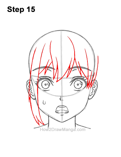 How to Draw a Manga Girl Woman Surprised Shocked Face Anime Short Hair 15