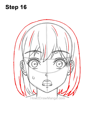How to Draw a Manga Girl Woman Surprised Shocked Face Anime Short Hair 16