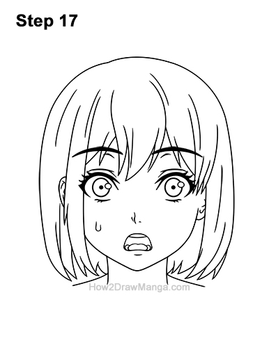 How to Draw a Manga Girl Woman Surprised Shocked Face Anime Short Hair 17