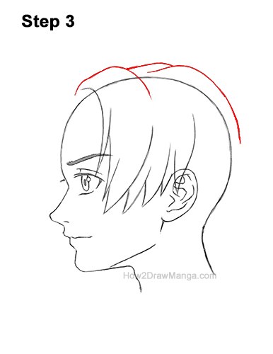 How to Draw Manga Anime Boy Male Man Parted Split Hair Side View Profile 3