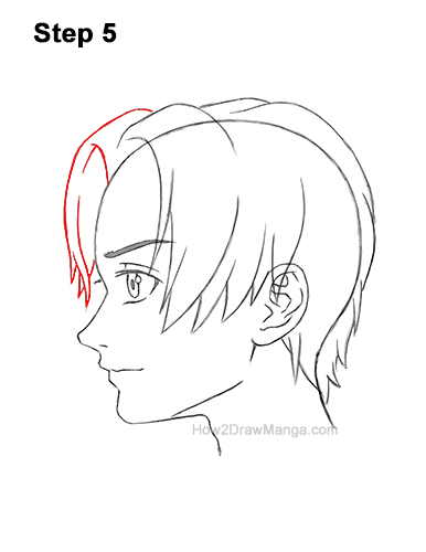 How to Draw Manga Anime Boy Male Man Parted Split Hair Side View Profile 5