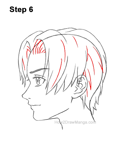How to Draw Manga Anime Boy Male Man Parted Split Hair Side View Profile 6