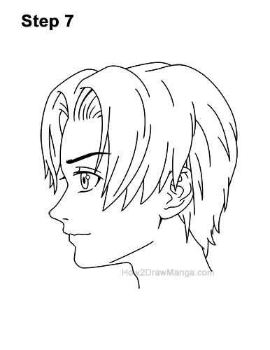 How to Draw Manga Anime Boy Male Man Parted Split Hair Side View Profile 7