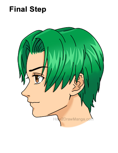 How to Draw Manga Anime Boy Male Man Parted Split Green Hair Side View Profile