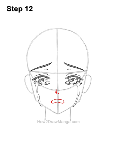 How to Draw a Manga Girl Woman Crying Tearful Teary-Eyed Sad Face Anime Short Hair 12