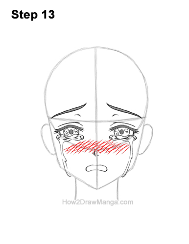 How to Draw a Manga Girl Woman Crying Tearful Teary-Eyed Sad Face Anime Short Hair 13