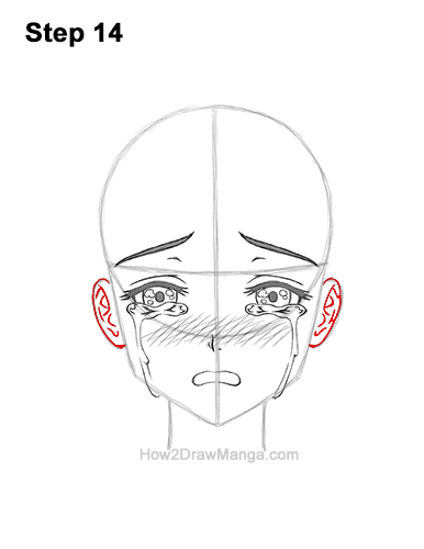 How to Draw a Manga Girl Woman Crying Tearful Teary-Eyed Sad Face Anime Short Hair 14