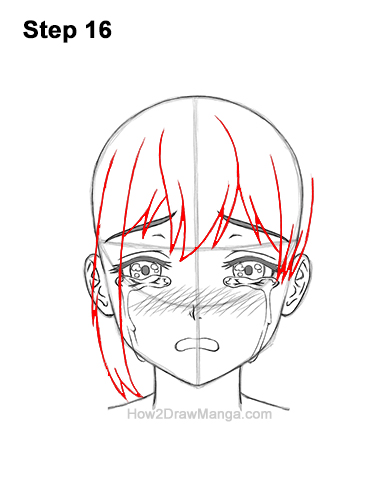 How to Draw a Manga Girl Woman Crying Tearful Teary-Eyed Sad Face Anime Short Hair 16