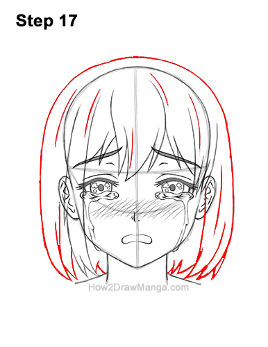 How to Draw a Manga Girl Woman Crying Tearful Teary-Eyed Sad Face Anime Short Hair 17
