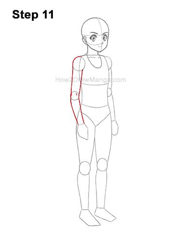 How to Draw a Basic Manga Anime Girl Female Woman Full Body Three Quarter 3/4 View 11