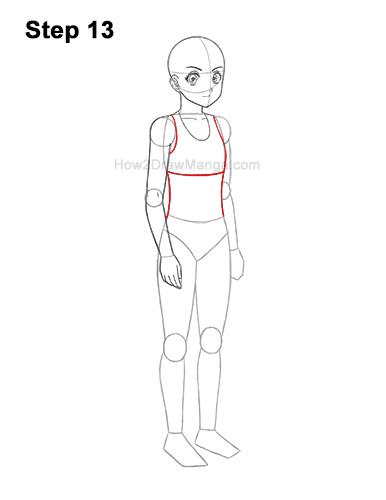 How to Draw a Basic Manga Anime Girl Female Woman Full Body Three Quarter 3/4 View 13