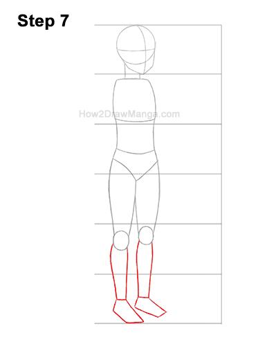How to Draw a Basic Manga Anime Girl Female Woman Full Body Three Quarter 3/4 View 7