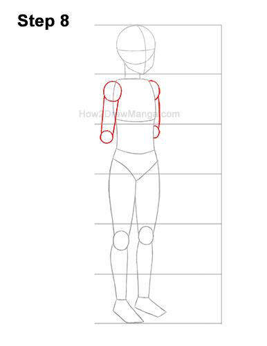 How to Draw a Basic Manga Anime Girl Female Woman Full Body Three Quarter 3/4 View 8