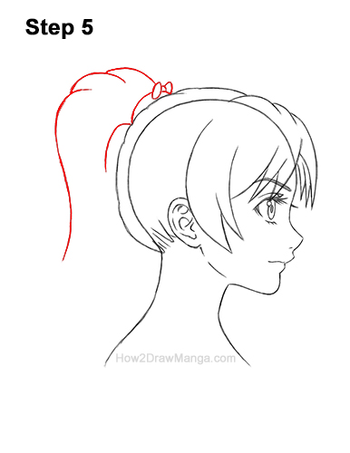 How to Draw Manga Girl Woman Ponytail Hair Side View Anime 5