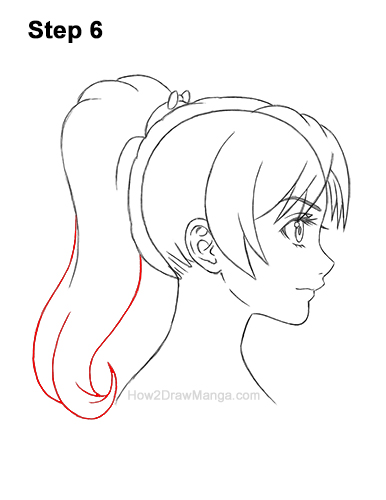 How to Draw Manga Girl Woman Ponytail Hair Side View Anime 6