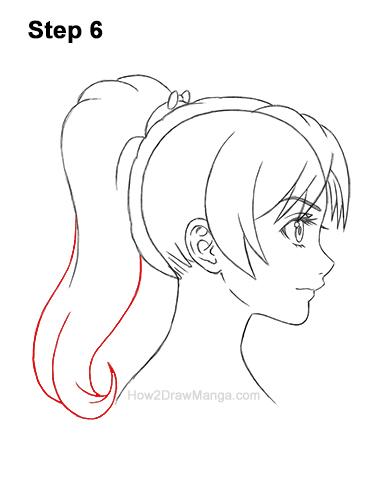 How to Draw Manga Girl Woman Ponytail Hair Side View Anime 6