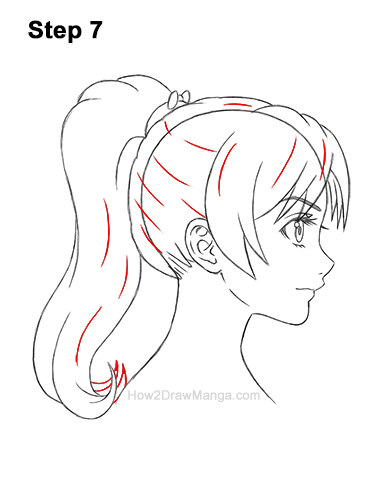 How to Draw Manga Girl Woman Ponytail Hair Side View Anime 7