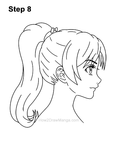 How to Draw Manga Girl Woman Ponytail Hair Side View Anime 8