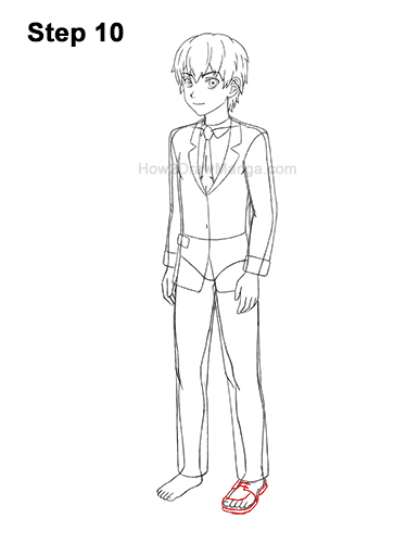 How to Draw a Manga Anime Boy Full Body Three Quarter 3/4 View School Uniform Seifuku 10
