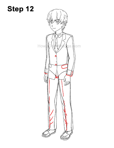 How to Draw a Manga Anime Boy Full Body Three Quarter 3/4 View School Uniform Seifuku 12