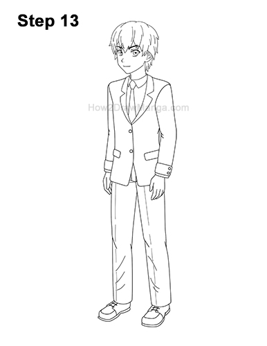 How to Draw a Manga Anime Boy Full Body Three Quarter 3/4 View School Uniform Seifuku 13