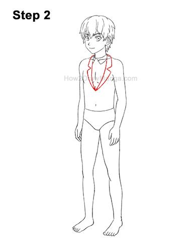 How to Draw a Manga Anime Boy Full Body Three Quarter 3/4 View School Uniform Seifuku 2