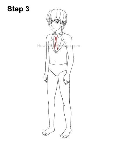 How to Draw a Manga Anime Boy Full Body Three Quarter 3/4 View School Uniform Seifuku 3