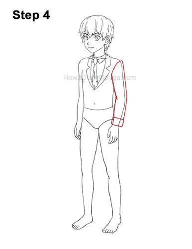 How to Draw a Manga Anime Boy Full Body Three Quarter 3/4 View School Uniform Seifuku 4