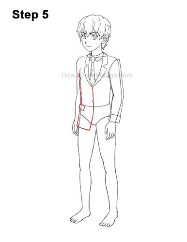 How to Draw a Manga Anime Boy Full Body Three Quarter 3/4 View School Uniform Seifuku 5