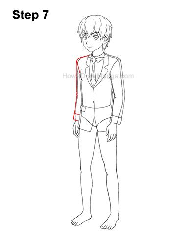 How to Draw a Manga Anime Boy Full Body Three Quarter 3/4 View School Uniform Seifuku 7