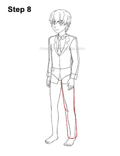 How to Draw a Manga Anime Boy Full Body Three Quarter 3/4 View School Uniform Seifuku 8
