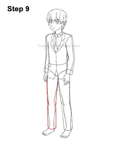 How to Draw a Manga Anime Boy Full Body Three Quarter 3/4 View School Uniform Seifuku 9