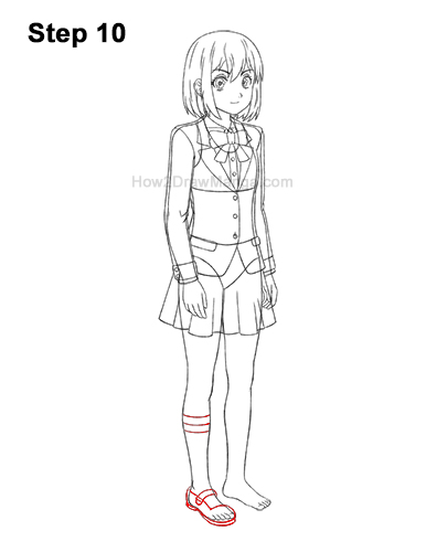How to Draw a Manga Anime Girl Woman Full Body Three Quarter 3/4 View School Uniform Seifuku 10