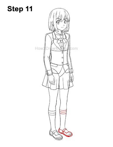 How to Draw a Manga Anime Girl Woman Full Body Three Quarter 3/4 View School Uniform Seifuku 11