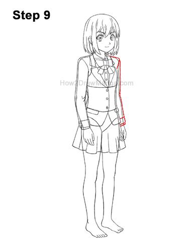 How to Draw a Manga Anime Girl Woman Full Body Three Quarter 3/4 View School Uniform Seifuku 9
