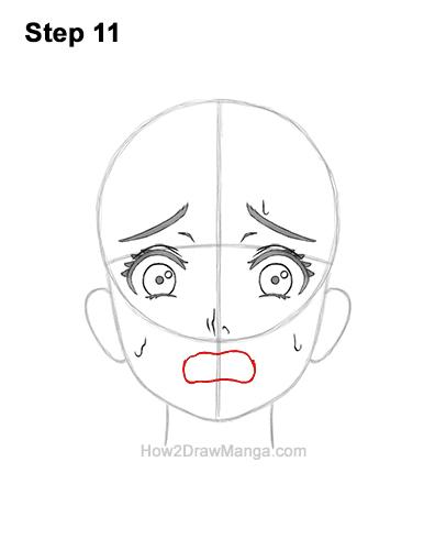 How to Draw a Manga Girl Woman Scared Afraid Face Fear Anime Short Hair 11