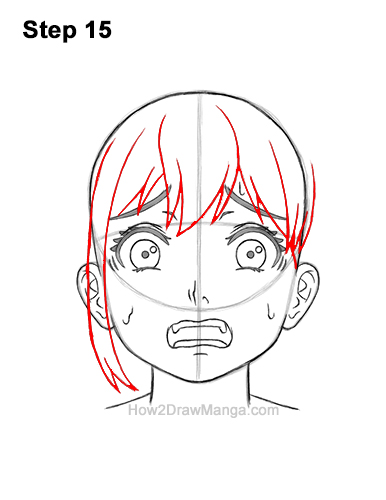 How to Draw a Manga Girl Woman Scared Afraid Face Fear Anime Short Hair 15