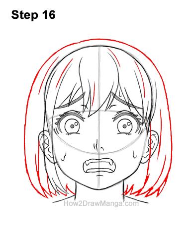How to Draw a Manga Girl Woman Scared Afraid Face Fear Anime Short Hair 16