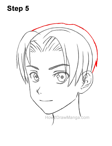 How to Draw Manga Anime Boy Male Parted Split Hair Three Quarter 3/4 View 5