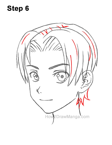 How to Draw Manga Anime Boy Male Parted Split Hair Three Quarter 3/4 View 6