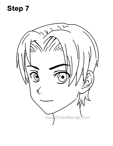 How to Draw Manga Anime Boy Male Parted Split Hair Three Quarter 3/4 View 7