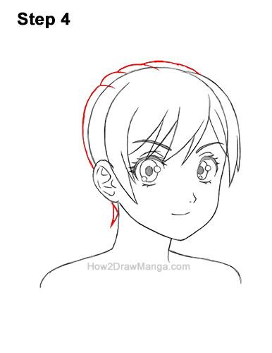 How to Draw Manga Girl Woman Ponytail Hair Three Quarter 3/4 View Anime 4
