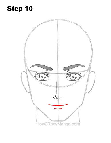 How to Draw Manga Anime Adult Man Male Guy Head Face Front View 1