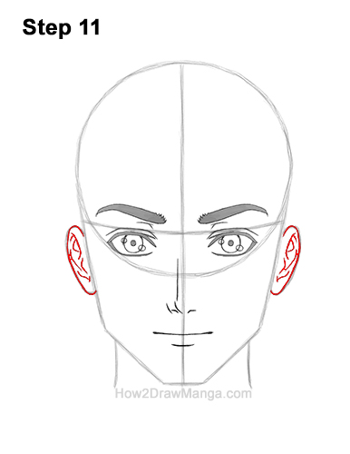How to Draw Manga Anime Adult Man Male Guy Head Face Front View 11