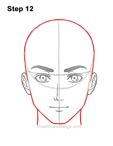 How to Draw Manga Anime Adult Man Male Guy Head Face Front View 12