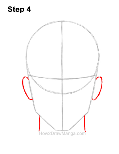 How to Draw Manga Anime Adult Man Male Guy Head Face Front View 4
