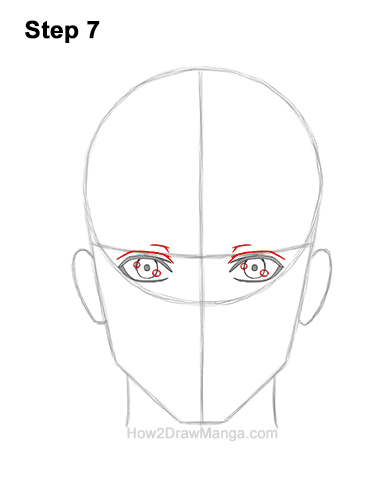 How to Draw Manga Anime Adult Man Male Guy Head Face Front View 7