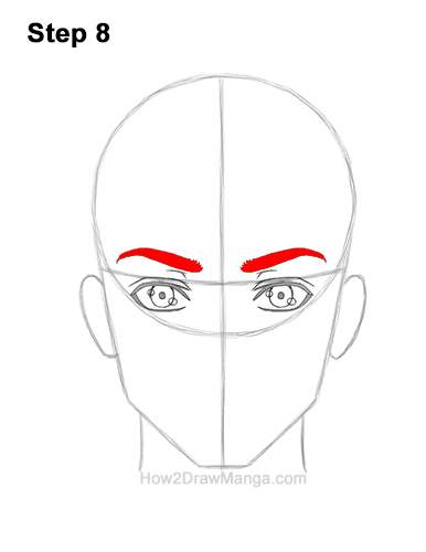 How to Draw Manga Anime Adult Man Male Guy Head Face Front View 8