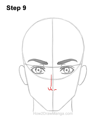 How to Draw Manga Anime Adult Man Male Guy Head Face Front View 9